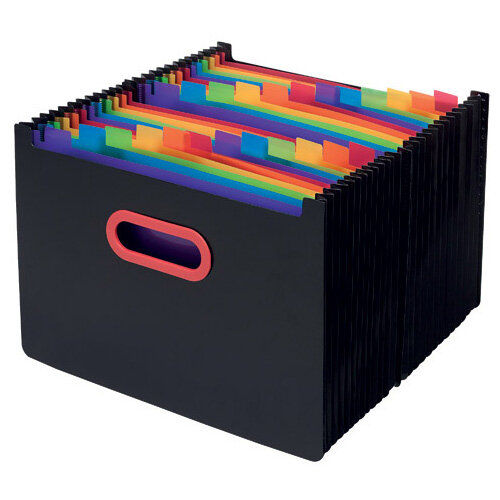 Snopake 24 Part Desk Expander A4 Rainbow/Black 15852