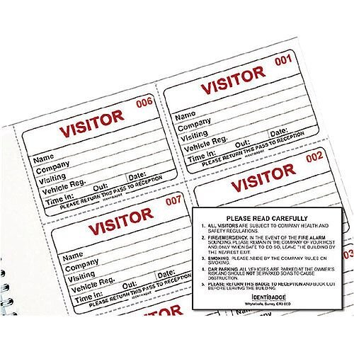 Identibadge Visitors Book Refill 100 Inserts IBRSYS