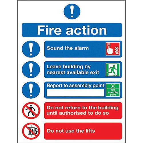 Safety Sign Fire Action Symbols A4 PVC (Pack of 1) FR09950R
