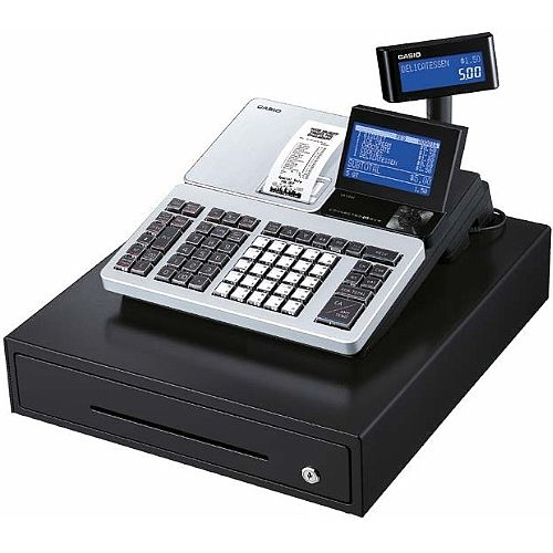 Casio SR-S500 Cash Register - LCD Screen, SD Card, Bluetooth, 3000 Product Codes, 72 Departments, Colour: Silver