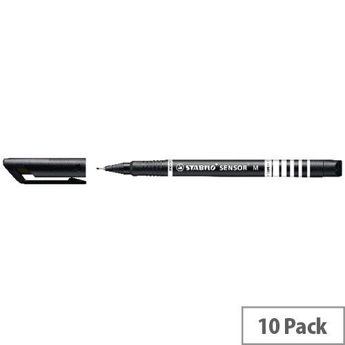 Stabilo Sensor Fineliner Medium Black Pack of 10 187/46