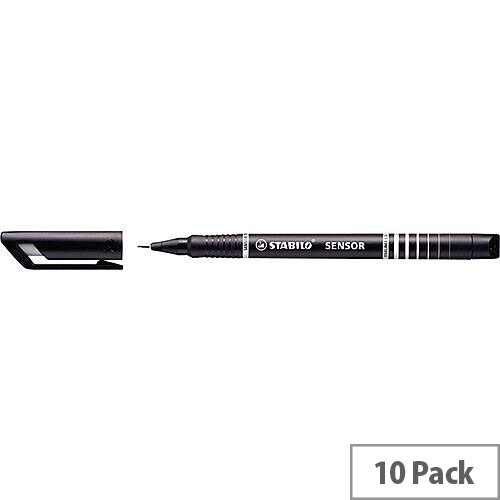 Stabilo Black Sensor Fineliner Pens Pack of 10