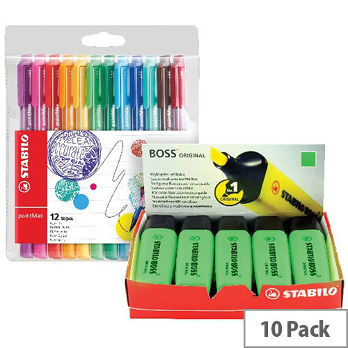 Stabilo Boss Highlighter Green Pack of 10 FOC Fibre Tip Pen Pack of 4 SS811677