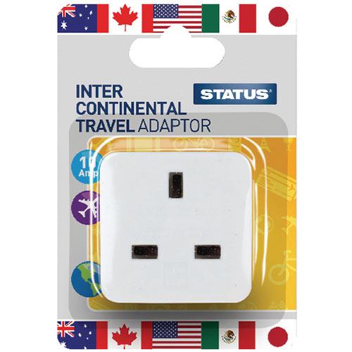 Status Intercontinental Travel Adaptor Pack of 12 SINTERAB12