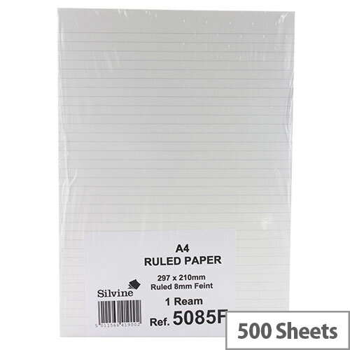 Silvine White A4 Ruled Unpunched Paper Pack of 500