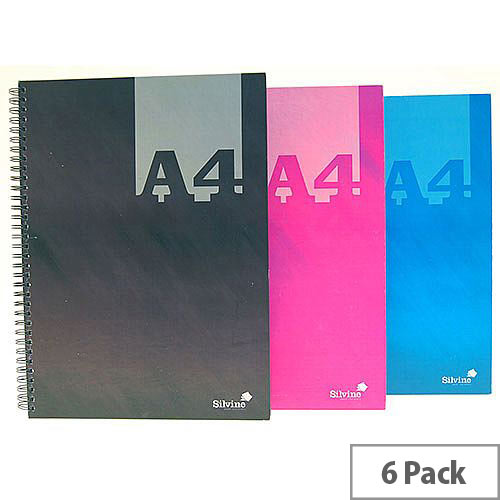 Silvine Assorted A4 Casebound Notebooks Pack of 6