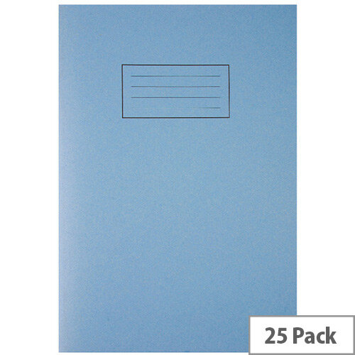 Silvine Tough Shell Exercise Book A4 Feint Ruled with Margin Blue EX144