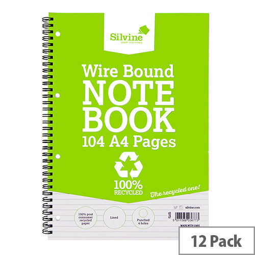 Silvine A4 Wirebound Notebook Recycled 104 Pages Pack 12