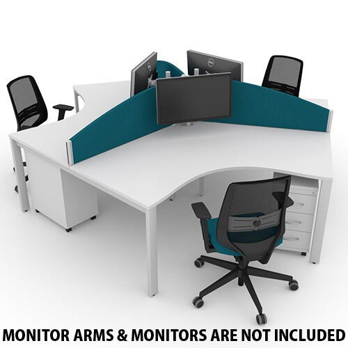 Switch 120 Degree 3 Person Bench Desk With Privacy Screens, Matching Under-Desk Pedestals &Chairs W1200mm