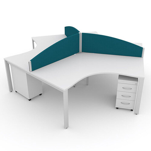 Switch 120 Degree 3 Person Bench Desk With Privacy Screens &Matching Under-Desk Pedestals W1200mm