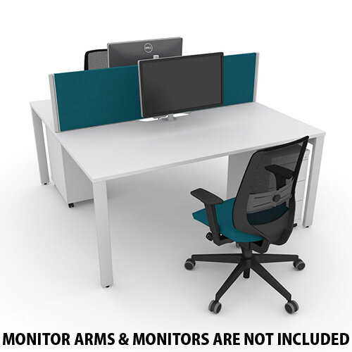 Switch 2 Person Bench Desk With Privacy Screens, Matching Under-Desk Pedestals &Chairs W 1400mm x D 2x700mm