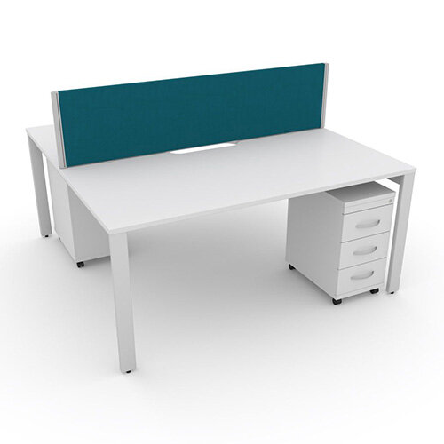Switch 2 Person Bench Desk With Privacy Screen &Matching Under-Desk Pedestals W 1600mm x D 2x600mm