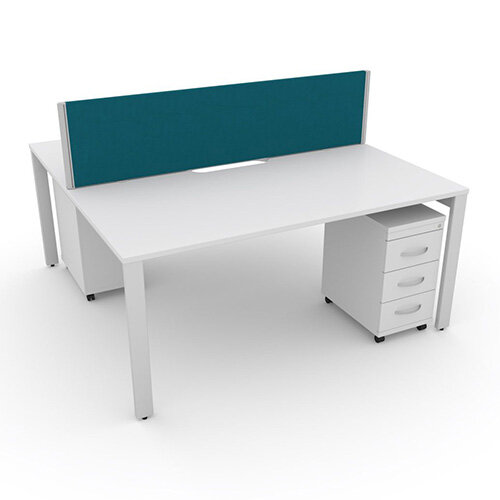 Switch 2 Person Bench Desk With Privacy Screen &Matching Under-Desk Pedestals W 1600mm x D 2x700mm