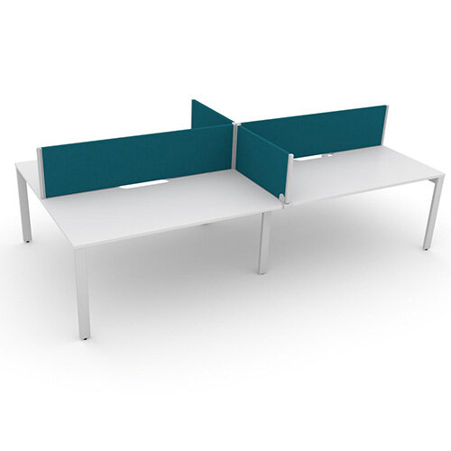Switch 4 Person Bench Desk With Privacy Screens W 2x1000mm x D 2x600mm