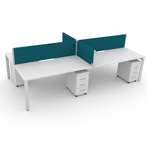 Switch 4 Person Bench Desk With Privacy Screens &Matching Under-Desk Pedestals W 2x1400mm x D 2x700mm
