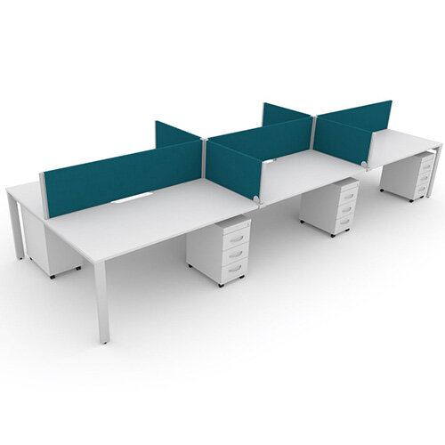 Switch 6 Person Bench Desk With Privacy Screens &Matching Under-Desk Pedestals W 3x1400mm x D 2x700mm