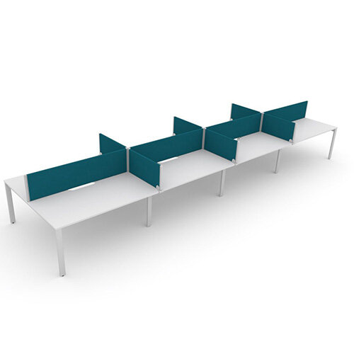 Switch 8 Person Bench Desk With Privacy Screens W 4x 1600mm x D 2x700mm