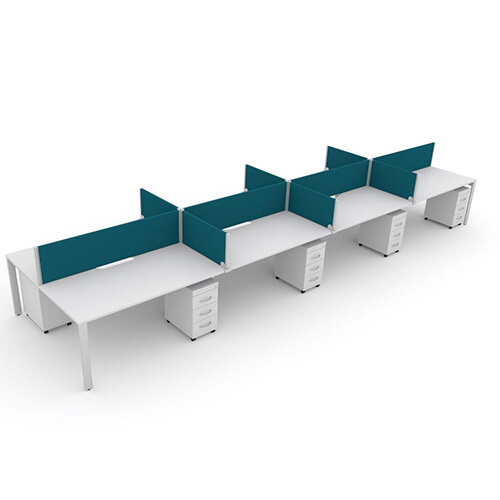 Switch 8 Person Bench Desk With Privacy Screens &Matching Under-Desk Pedestals  W 4x 1400mm x D 2x600mm