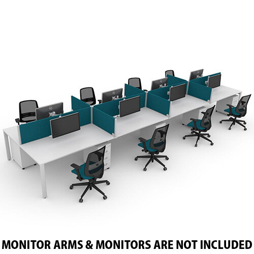 Switch 8 Person Bench Desk With Privacy Screens, Matching Under-Desk Pedestals &Chairs W 4x 1000mm x D 2x600mm