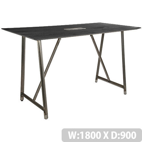 Frovi RELIC Poseur Sawn Black Oak Top Bench Table With Power Module &Raw Steel Frame W1800xD900xH1050mm
