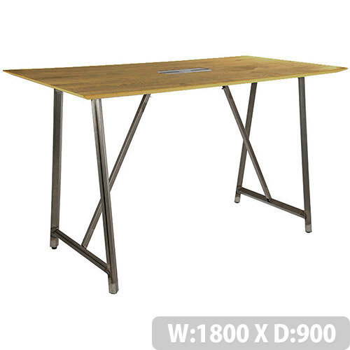 Frovi RELIC Poseur Sawn Oak Top Bench Table With Power Module &Raw Steel Frame W1800xD900xH1050mm