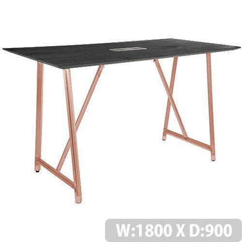 Frovi RELIC Poseur Sawn Black Oak Top Bench Table With Power Module &Vintage Copper Frame W1800xD900xH1050mm