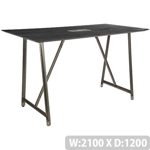 Frovi RELIC Poseur Sawn Black Oak Top Bench Table With Power Module &Raw Steel Frame W2100xD1200xH1050mm