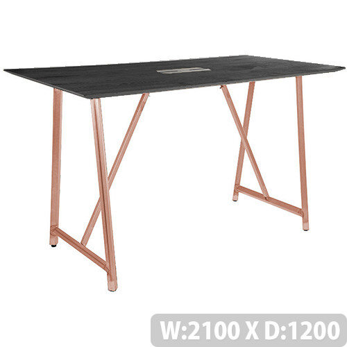 Frovi RELIC Poseur Sawn Black Oak Top Bench Table With Power Module &Vintage Copper Frame W2100xD1200xH1050mm