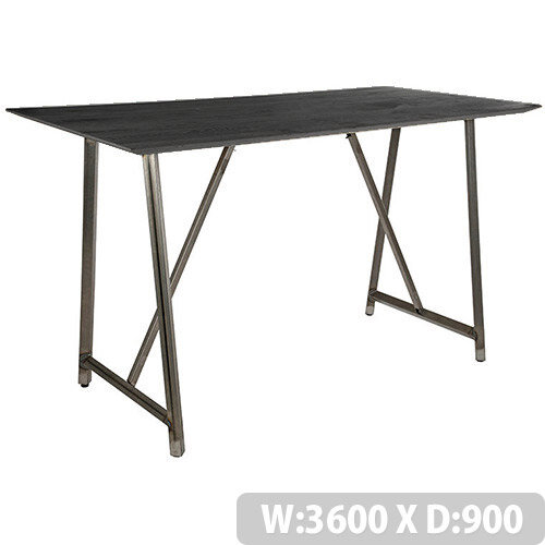 Frovi RELIC Poseur Sawn Black Oak Top Bench Table With Raw Steel Frame W3600xD900xH1050mm