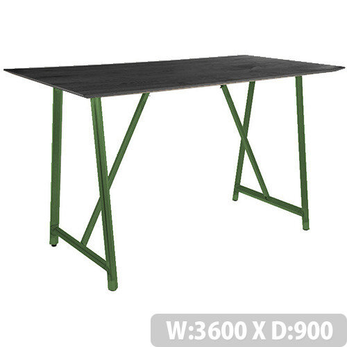 Frovi RELIC Poseur Sawn Black Oak Top Bench Table With Painted Steel Frame W3600xD900xH1050mm