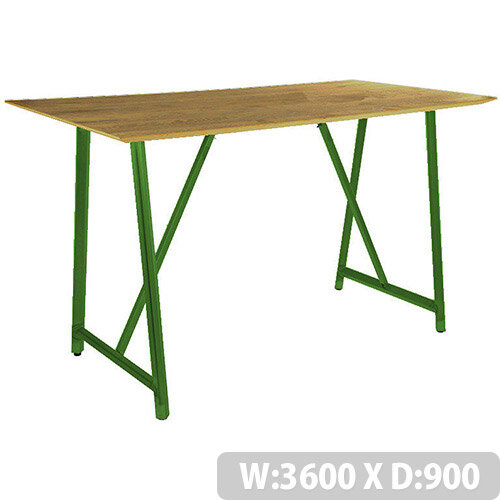 Frovi RELIC Poseur Sawn Oak Top Bench Table With Painted Steel Frame W3600xD900xH1050mm
