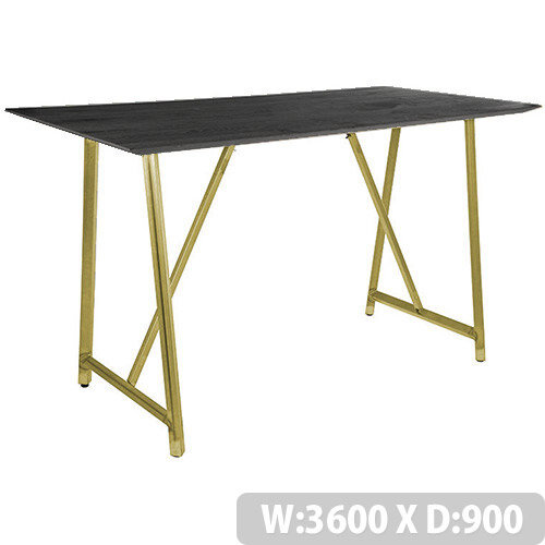 Frovi RELIC Poseur Sawn Black Oak Top Bench Table With Vintage Brass Frame W3600xD900xH1050mm