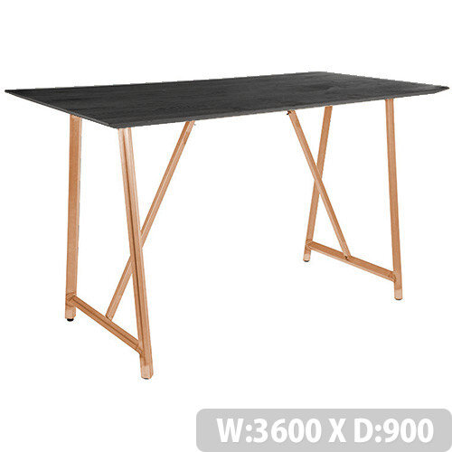 Frovi RELIC Poseur Sawn Black Oak Top Bench Table With Vintage Copper Frame W3600xD900xH1050mm