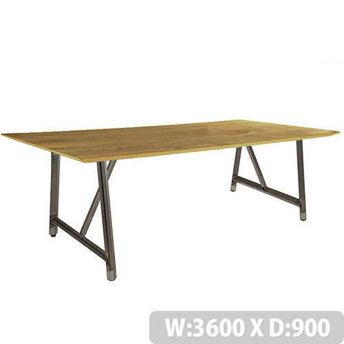 Frovi RELIC Sawn Oak Top Bench Table With Raw Steel Frame W3600xD900xH750mm