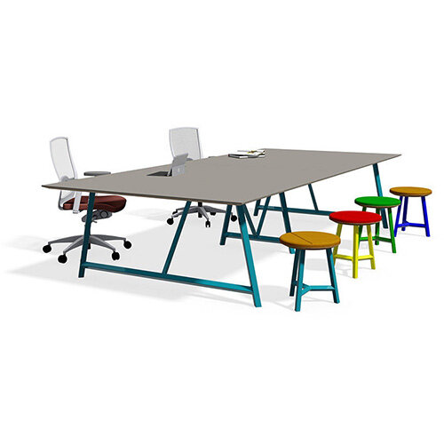 Frovi RELIC Sawn Oak, Weathered Oak or Cutline Top Table With Painted Steel, Vintage or Raw Steel Frame W3600xD1600xH750mm