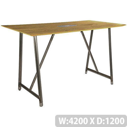 Frovi RELIC Poseur Sawn Oak Top Bench Table With Power Module &Raw Steel Frame W4200xD1200xH1050mm