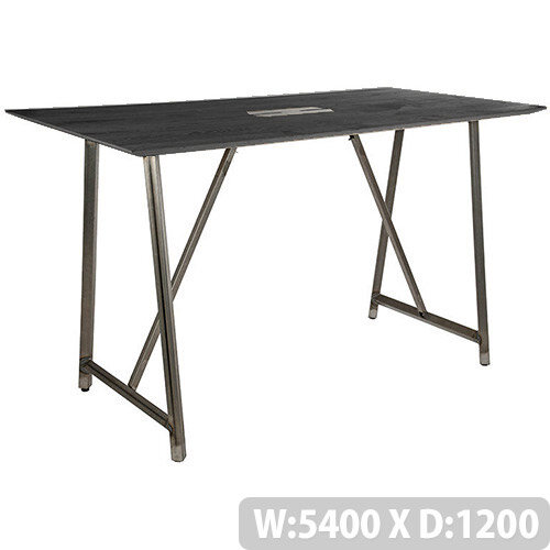 Frovi RELIC Poseur Sawn Black Oak Top Bench Table With Power Module &Raw Steel Frame W5400xD1200xH1050mm