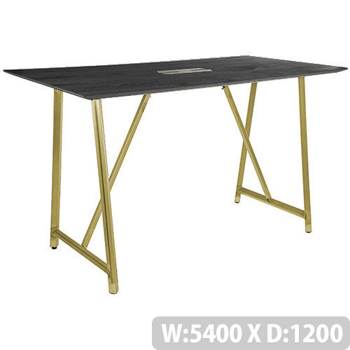Frovi RELIC Poseur Sawn Black Oak Top Bench Table With Power Module &Vintage Brass Frame W5400xD1200xH1050mm