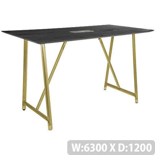 Frovi RELIC Poseur Sawn Black Oak Top Bench Table With Power Module &Vintage Brass Frame W6300xD1200xH1050mm
