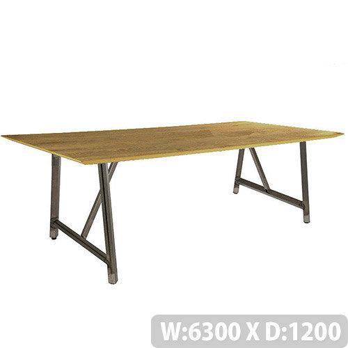 Frovi RELIC Sawn Oak Top Bench Table With Raw Steel Frame W6300xD1200xH750mm