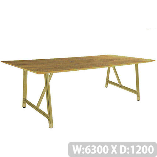Frovi RELIC Sawn Oak Top Bench Table With Vintage Brass Frame W6300xD1200xH750mm