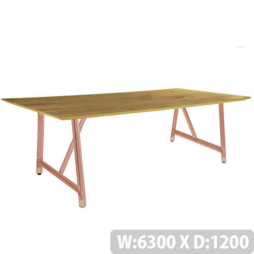 Frovi RELIC Sawn Oak Top Bench Table With Vintage Copper Frame W6300xD1200xH750mm