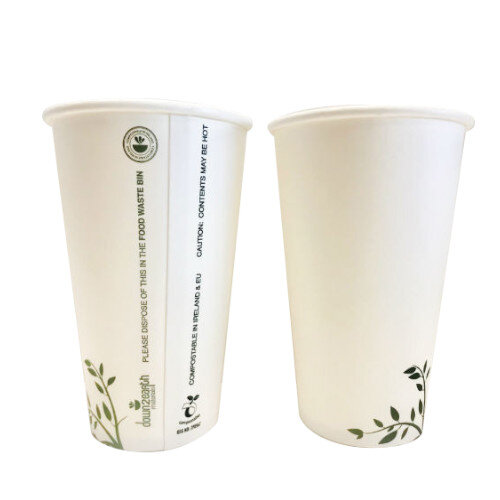Compostable 16oz/450ml Disposable Coffee Cups Hot Drink Cups White Pack of 1000