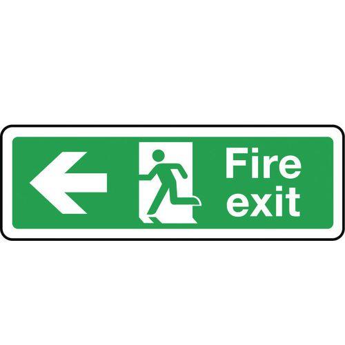 Sign Fire Exit Arrow Left 300x100 Aluminium