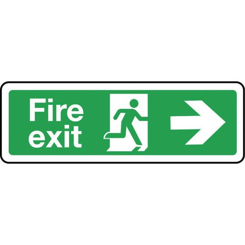 Sign Fire Exit Arrow Right 600x200 Aluminium