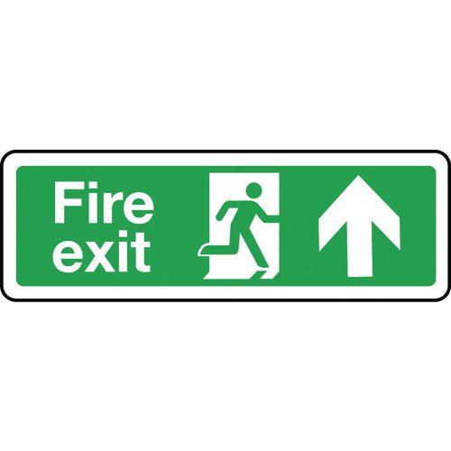 Sign Fire Exit Arrow Up 600x200 Aluminium