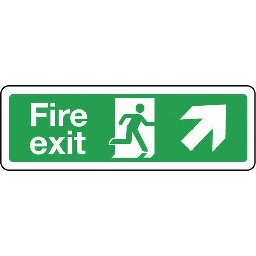 Sign Fire Exit Arrow Up Right 300x100 Aluminium