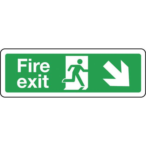 Sign Fire Exit Arrow Down Right 300x100 Aluminium