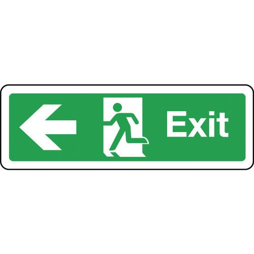 Sign Exit Arrow Left 600x200 Aluminium