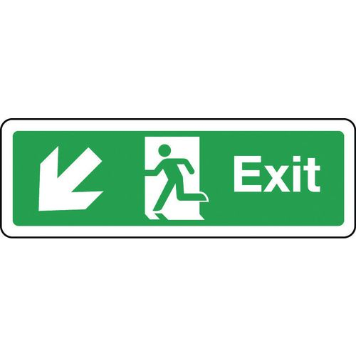 Sign Exit Arrow Down Left 300x100 Aluminium